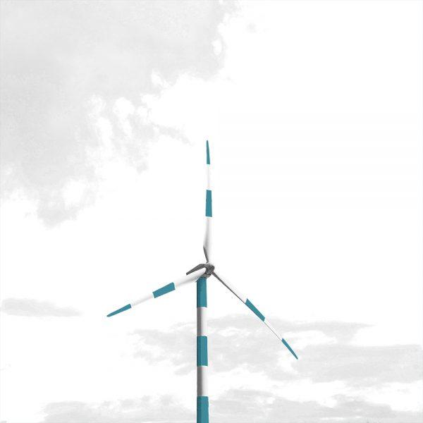 éolienne rayée bleu et blanche