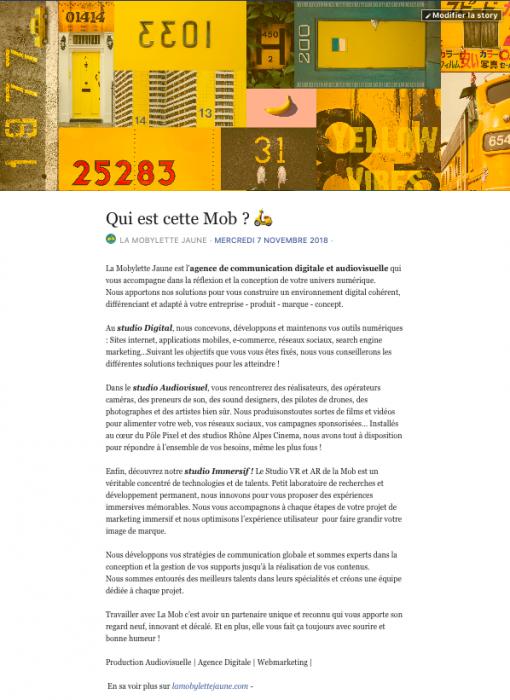 présentation à propos de Facebook de la mobylette jaune
