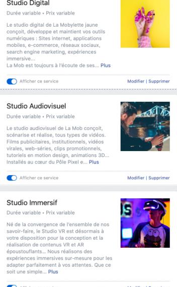 présentation des studios de La Mobylette Jaune sur Facebook