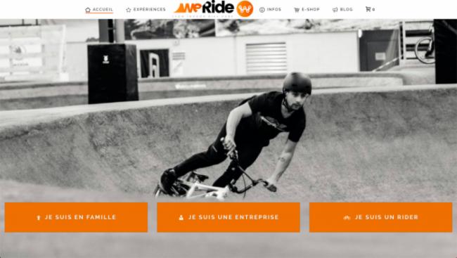 capture d'écran de la page d'accueil du site WeRide