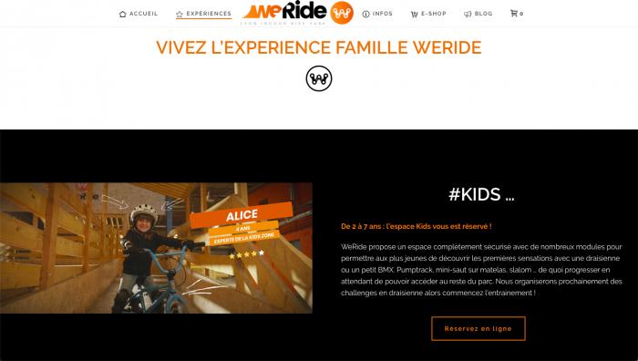 capture d'écran de la page expérience famille du site WeRide
