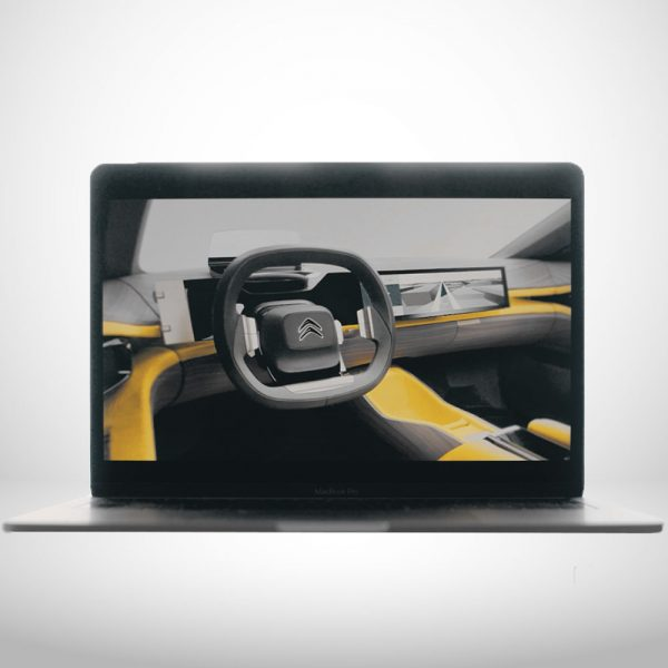 intérieur d'une voiture futuriste intégré dans un écran d'ordinateur