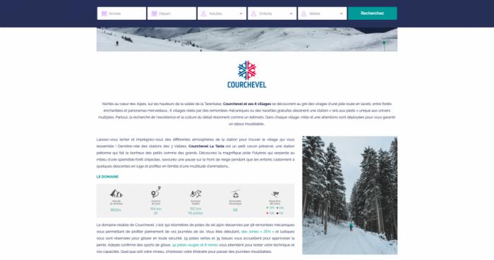 capture d'écran de la page courchevel du site Skimania Residence