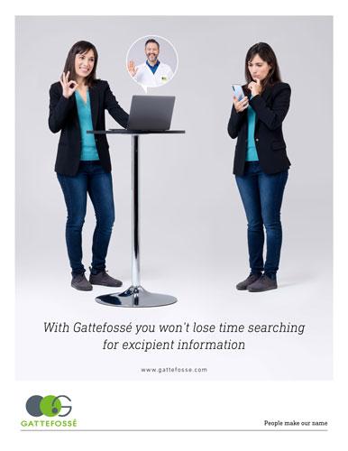 affiche de Gattefossé présentant les avantages de travailler avec gattefosse VS sans