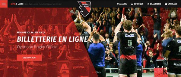capture d'écran de la page d'accueil du site internet d'Oyonnax Rugby