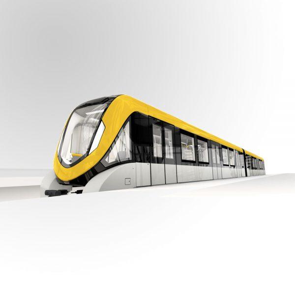 métro futuriste jaune