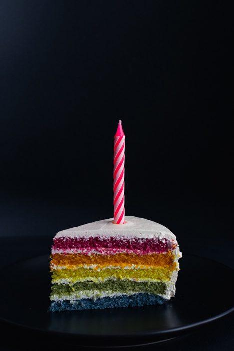 part de gâteau d'anniversaire coloré avec une bougie