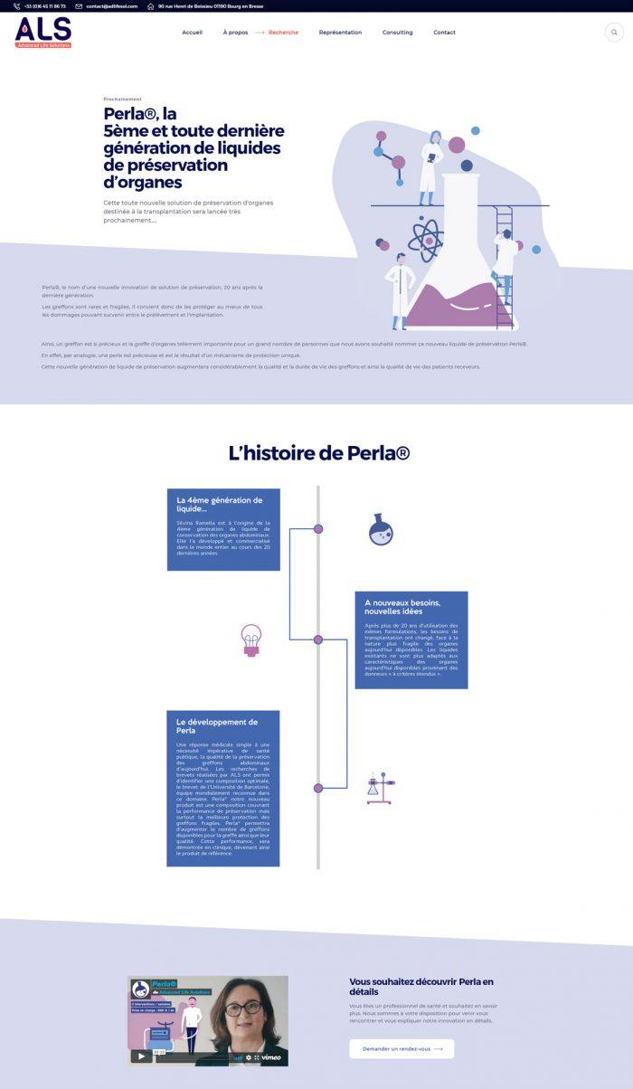 capture d'écran de la page web d'ALS présentant Perla