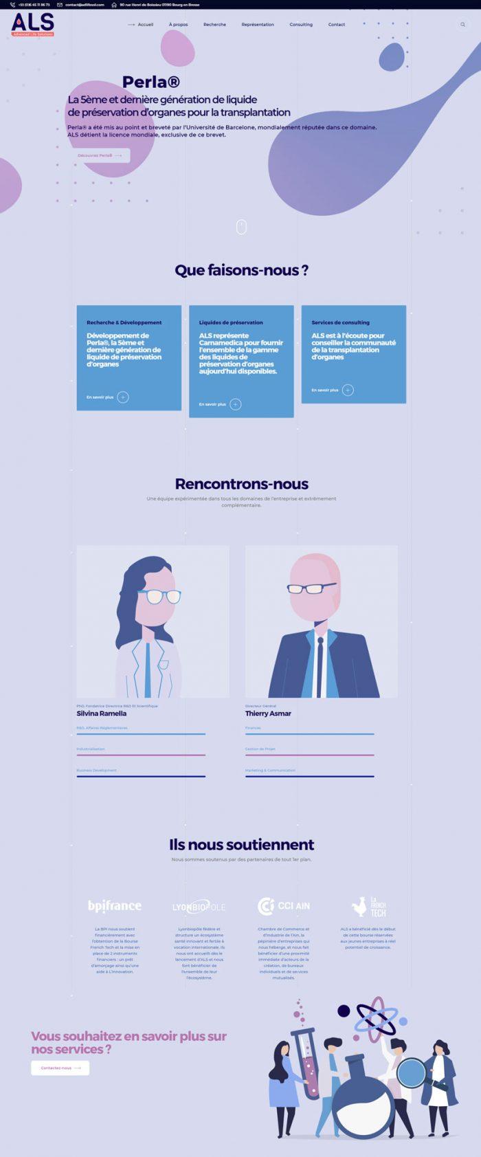 capture d'écran de la page d'accueil du site web d'ALS présentant la société