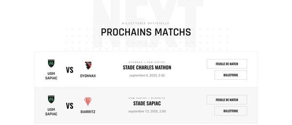 capture d'écran des prochains matchs du site internet d'USM Sapiac