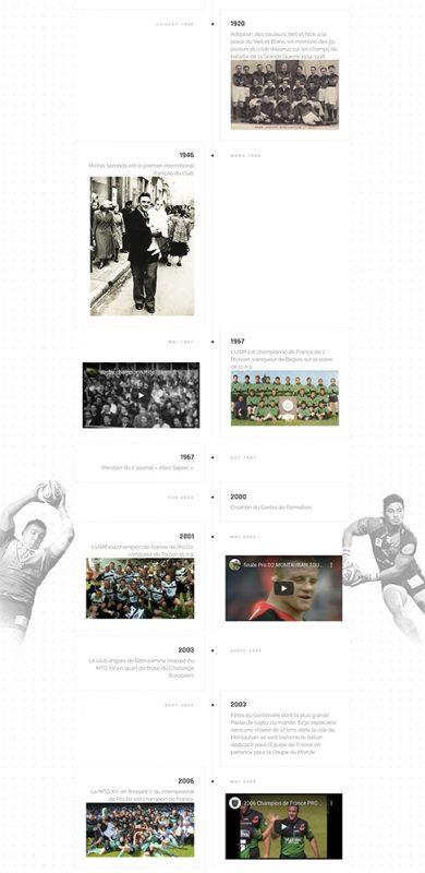 capture d'écran de la section historique du site internet d'USM Sapiac